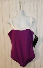 Miraclesuit Womens Size 14 Purple Whote One Piece Slimming Bathing Suit NEW