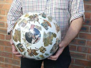 "Victorian 13.5"" Hand Blown Glass Decalcomania Globe Hanging Decoration a/f"