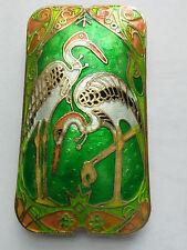 Rectangular Cloisonne Focal Bead Heron, Green, 60mm. Jewellery/Beading/Crafts