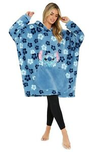 Tropical Flowers Disney Hoodie Blanket, Stitch Sherpa Fleece Oversized Hoodie