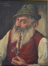 Fritz MÜLLER (German 1913-1972) Old Bavarian Hat Man Smoking the Pipe Oil Board