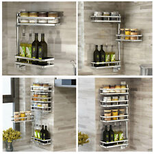 2~4Tier Rotating Spice Rack Storage Organizer Wall Mounted Seasoning Stand Shelf