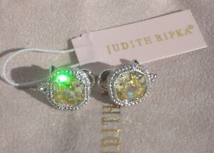 JUDITH RIPKA Estate Canary Crystal & Sterling Silver EARRINGS Omega Backs NEW