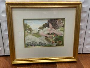 Vtg Francis King Signed Watercolor Allegory Painting Season Mellow Fruitfulness