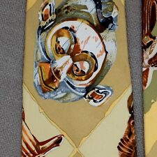 "HERMES SCARF TIE ~ TAN BEIGE w AFRICAN MASKS ""PERSONA"" by LOIC DUBIGEON"
