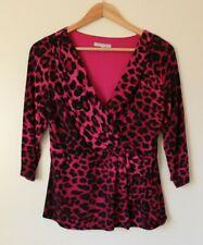 M&S Per Una Magenta Pink Leopard Print Mock Wrap Top UK 12