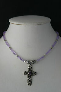 """Beautiful 925 Necklace Cross With Faceted Amethyst 14 Grams 15"""" Long + Cross"""