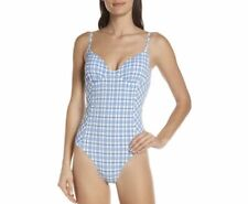 NWT Tory Burch Women's Gingham Blue One Piece Swimsuit Size Large