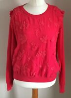 Per Una Size 16 Ladies Red Long Sleeve Jumper Top With Front Floral Print, BNWT