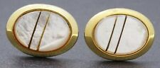 Retro Natural Mother of Pearl & Gold Tone Men's Cuff-links Accessories