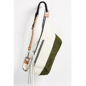 rag & bone Elliot Oversize Colorblock Canvas & Suede Fanny Pack Olive Green $395