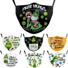 7pcs Unisex Green Grinch Face Masks Christmas Halloween Mask Washable Reusable