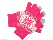 Ladies Pink Fair isle Touch Screen Smart Knitted Gloves Phone ipad Winter Warm