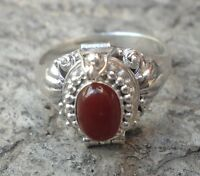 925 Solid Silver Balinese Poison/Locket Ring Carnelian Cab Size 7-H65