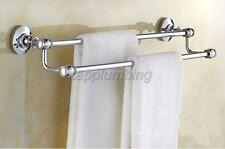 Polished Chrome Double Towel Bar Holder Wall Mounted  Bathroom Accessory tba802