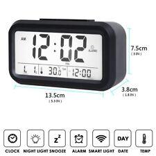 Bedside Digital Snooze Alarm Clock Large Display LCD Electronic Watch Night Glow
