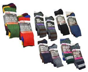 6 Pairs Mens Rich Woollen Comfort Work Everyday Outdoor Walking Thermal Socks