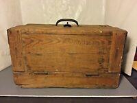 Large Antique Primitive Storage Box with Clasp Lock