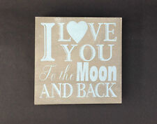 GISELA GRAHAM VINTAGE STYLE GREY SQAURE TO THE MOON AND BACK WOODEN SIGN PLAQUE