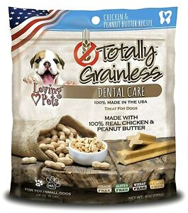 Loving Pets Totally Grainless Chicken & Peanut Butter Dental Chew Small 6 Oz-New