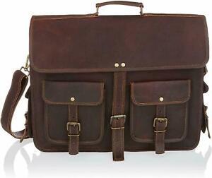 Men's Leather Handbag Briefcase Messenger Shoulder Bag Casual Travel Laptop Bag