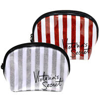 Victoria's Secret Mini Cosmetic Bag Glitter Stripe Zip Up Makeup Case Travel New