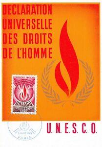 Carte Maximum FDC France DÉCLARATION UNIVERSELLE DES DROITS DE L'HOMME 1969 n1