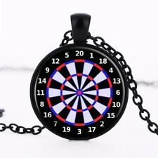 Dart Board Target Crystal Glass Pendant Necklace Jewelry Gift Bag - Black