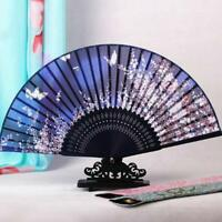 Folding Chinese Silk Blue Butterfly Classical Hand Flower Bamboo Dance Fan UKPL
