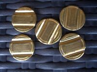 5 x 14 x 2mm brass vending tokens, Gaming coin mech. Jet wash.2 groove security