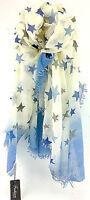 WOW! Mega XXL Damen Schal Tuch weiss blau 190cm x 90cm Sterne 2017.0089/A18