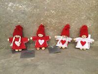 Gisela Graham Christmas cute red felt wood mini Scandi kid decorations set of 4