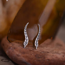 925 Sterling Silver Retro Leaf Climber Crawler Cuff Hook Earrings A1361