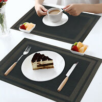 "Placemats Set of 8 Washable Heat-Resistant PVC Table Mat Woven 17.7""x11.8"""