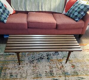 Mid Century Modern Slat Bench Coffee Table Vtg Entry Wood Danish Eames MCM