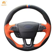 Black Orange Leather Steering Wheel Cover for Ford Focus 3 2015 Kuga Escape 2017