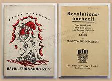 Lion Revolutionshochzeit Oper in 3 Akten Musik D'Albert Drama Michaelis xz