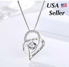 I Love You To The Moon and Back Mom Heart 925 Silver Necklace N137 Girlfriend