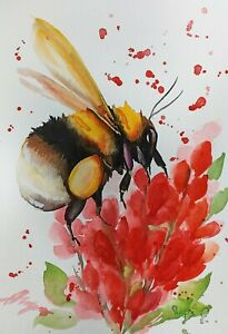 """Bumblebee original 8""""x11"""" painting insect on flowers by Anne Gorywine №4"""