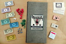 Vtg. Monopoly Popular Edition 1952 w Instructions Board Metal Tokens Wood Houses