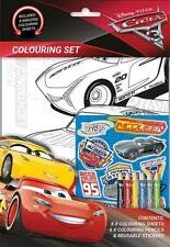 Cars 3 Colouring Activity Set Stickers 6 x Colour Pencils Disney - WH3 - 206-NEW