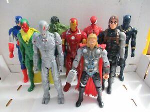 "Lot of 9 Marvel 12"" Figures Ironman Thor Spiderman Hulk Ultron Black Panther..."