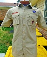 Boy Scout Bsa Tan Beige Uniform Shirt w/Patches -Adult Small