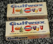 2 Gulfwax Paraffin Wax for Canning Candle making Gulf Oil Advertising 1/4 Pound