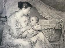Maternité d'après Tony Robert-Fleury gravure Payrau Sté Amis des Arts XIX e 1895