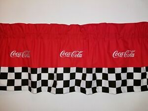 CUSTOM LINED VALANCE 42 X 15  RETRO DINER COCA COLA COKE SODA POP DRINK CURTAIN