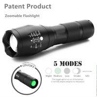 LED Tactical Flashlight Police 5 Modes Zoom Camping Light Military Torch