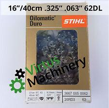 "Stihl Duro Carbide Chain 16""/40cm,.325""Pitch, .063"" Gauge,62 Drive Links,Inc GST"