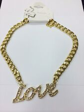 Fashion Gold METAL Hip Hop LOVE Rhinestone Chunky Chain Necklace