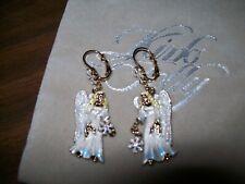 Kirks Folly Snow Angel Leverback Earrings Goldtone